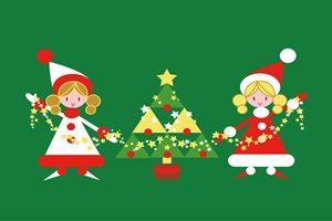 クリスマスツリー 女の子 イラスト かわいい 無料 フリー