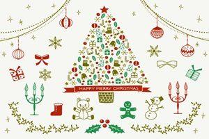 クリスマスツリー イラスト おしゃれ かわいい オーナメント 無料 フリー