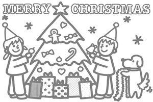 クリスマスツリー イラスト 塗り絵 白黒 線画 無料 フリー