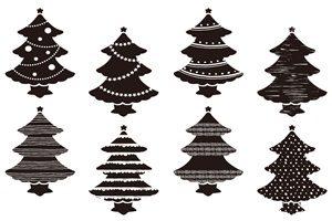 クリスマスツリー イラスト 白黒 シルエット モノクロ 素材 無料 フリー