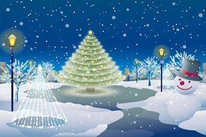 クリスマスツリー 公園 夜 イラスト 雪だるま おしゃれ 無料 フリー お