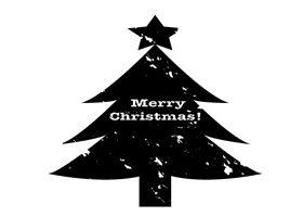 クリスマスツリー 白黒 モノクロ シルエット 無料 フリー