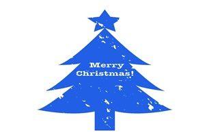 クリスマスツリー イラスト シルエット カラーシルエット 青 無料 フリー