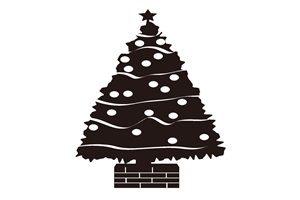 クリスマスツリー イラスト 白黒 モノクロ シルエット 無料 フリー