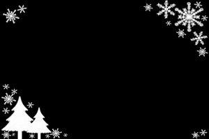 クリスマスツリー イラスト 白黒 モノクロ シルエット フレーム