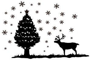 クリスマスツリー トナカイ イラスト 白黒 シルエット モノクロ 無料 フリー
