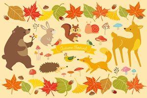もみじ 動物 かわいい イラスト 無料 フリー 紅葉 森