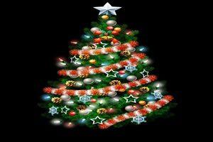 クリスマスツリー イラスト 豪華 ゴージャス イルミネーション 無料 フリー