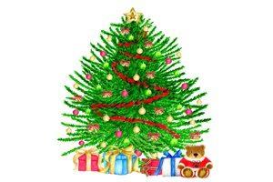 クリスマスツリー イラスト 色鉛筆 手描き かわいい 無料 フリー