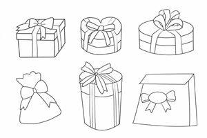 プレゼント ギフトボックス イラスト 塗り絵 線画 無料 商用フリー