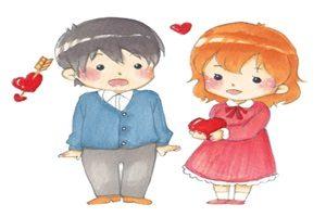 バレンタイン カップル イラスト 水彩画 かわいい 無料 フリー