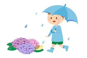 あじさい イラスト 男の子 かわいい 梅雨 傘 無料 商用フリー