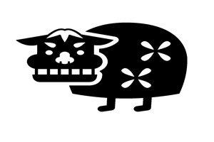 獅子舞 イラスト 白黒 モノクロ シルエット 無料 フリー