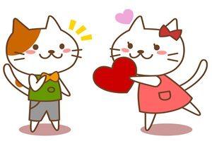 バレンタイン 猫 イラスト カップル かわいい 無料 フリー