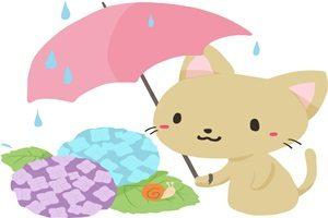 あじさい イラスト 猫 かわいい 傘 梅雨 無料 商用フリー