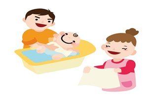 赤ちゃん 入浴 沐浴 イラスト 無料 商用フリー