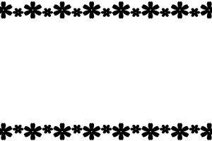 コスモス 白黒 フレーム イラスト 無料 商用フリー