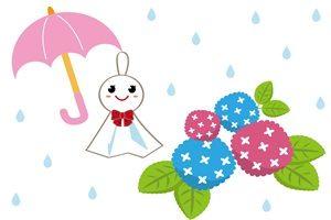あじさい てるてる坊主 イラスト 梅雨 かわいい 無料 商用フリー