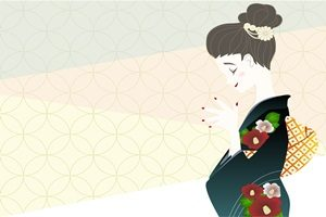 椿 女性 着物 イラスト 無料 商用フリー