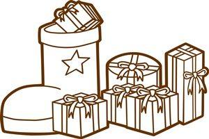 クリスマスプレゼント イラスト 白黒 線画 塗り絵 無料 商用フリー