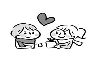 バレンタイン イラスト 白黒 塗り絵 カップル かわいい 無料 フリー