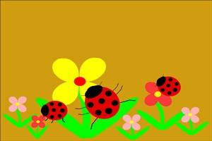 てんとう虫と花の背景イラスト
