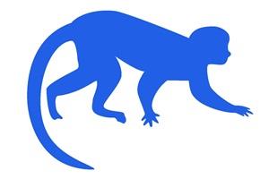 カラーシルエットの猿のイラスト