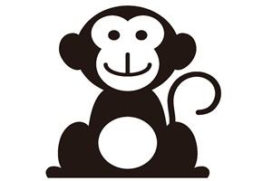白黒の猿のイラスト