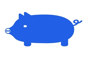 カラーシルエットの豚のイラスト