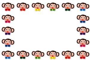 猿のイラストフレーム