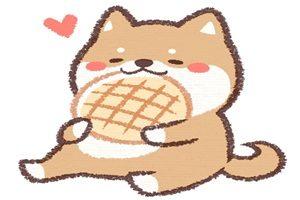 柴犬 イラスト 食べている メロンパン かわいい 無料 商用フリー