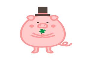 おしゃれな豚のイラスト
