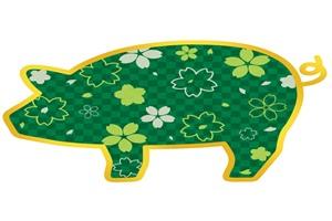 和風の豚のイラスト