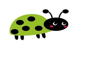 緑色のてんとう虫のイラスト