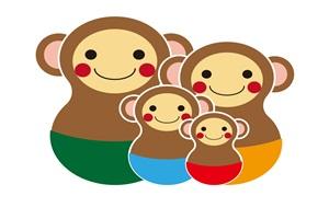 マトリョーシカ風の猿の可愛いイラスト