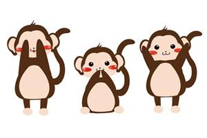 見ざる聞かざる言わざるの猿のイラスト