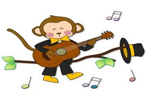 ギターを弾く猿のオシャレなイラスト