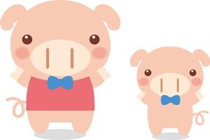 豚の親子のイラスト