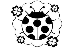 塗り絵用のてんとう虫のイラスト