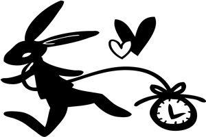 うさぎ時計 アリス イラスト シルエット 白黒 おしゃれ 無料 商用フリー
