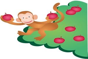 りんごの木に登っている猿のイラスト