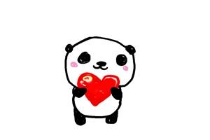 恋をするゆるいパンダのイラスト