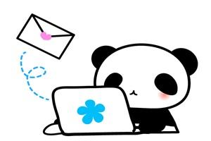パソコンを操る可愛いパンダのイラスト