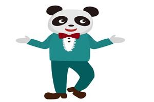 タキシードを着たオシャレなパンダのイラスト
