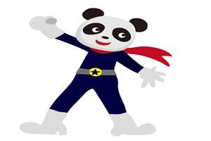 戦隊ヒーロー風のかっこいいパンダのイラスト