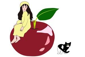 りんごと猫と女性のイラスト