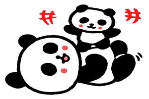 かわいいパンダの親子のイラスト
