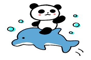 イルカに乗った可愛いパンダのイラスト