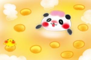 ゆず湯の温泉に入る可愛いパンダのイラスト