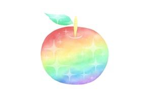 おしゃれな虹色のりんごのイラスト